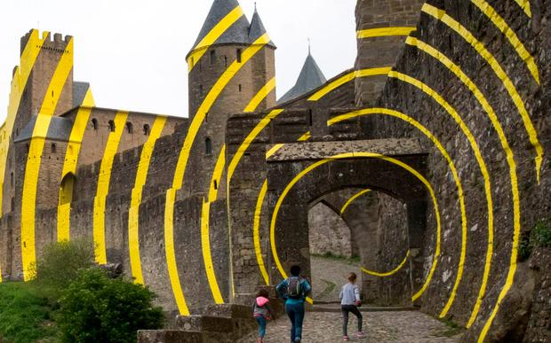 Some locals are up in arms over contemporary artwork daubed on to the Carcassonne fortress