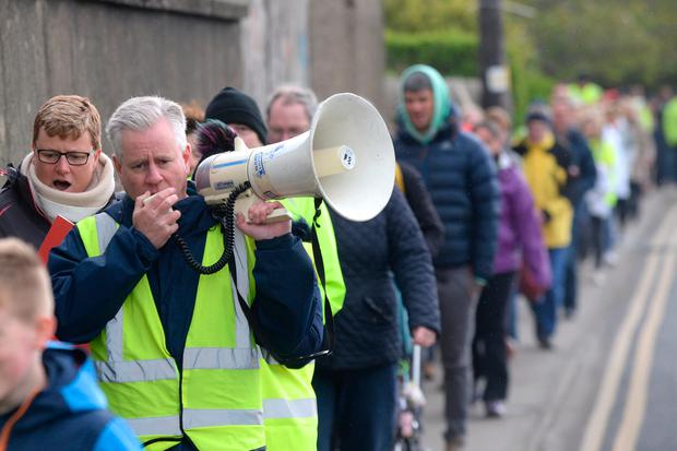 Charlie Weston pictured at a peaceful protest in Donabate over construction traffic risks to children Pic: Justin Farrelly.