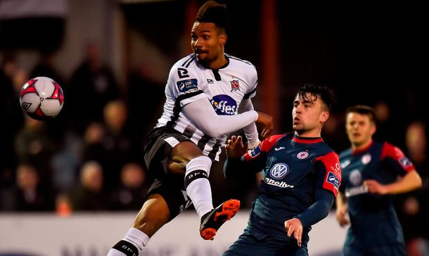 Marco Tagbajumi of Dundalk in action against John Mahon of Sligo Rovers during the SSE Airtricity League Premier Division match between Dundalk and Sligo Rovers at Oriel Park, in Dundalk, Louth. Photo by Piaras Ó Mídheach/Sportsfile