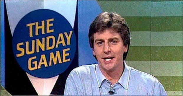 Michael presenting 'The Sunday Game' in 1990