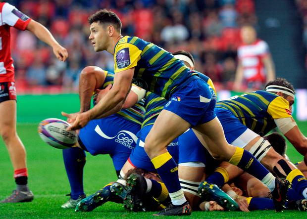 Cardiff Blues' Tomos Williams gets the ball away during the European Challenge Cup Final against Gloucester. Photo: Reuters