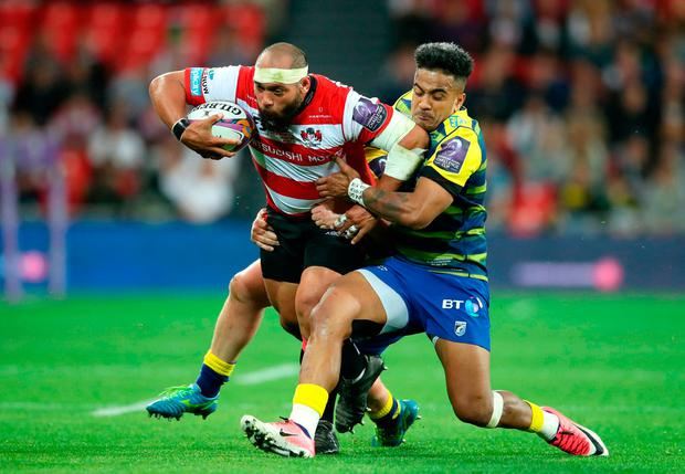 Gloucester Rugby's John Afoa (left) and Cardiff Blues' Rey Lee-Lo during the European Challenge Cup Final at the San Mames Stadium, Bilbao.. Photo: Adam Davy/PA