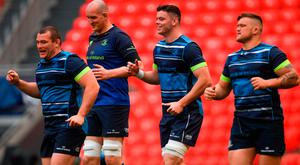 Leinster players, from left, Jack McGrath, Devin Toner, James Ryan and Andrew Porter