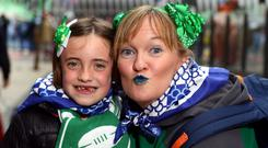 Leinster fans Lesley Ann Dobson and her daughter Naiara (7) from Dublin and now living in Bilbao, Spain ahead of todays Champions Cup final meeting with Racing 92. Pic:Mark Condren 12.5.2018