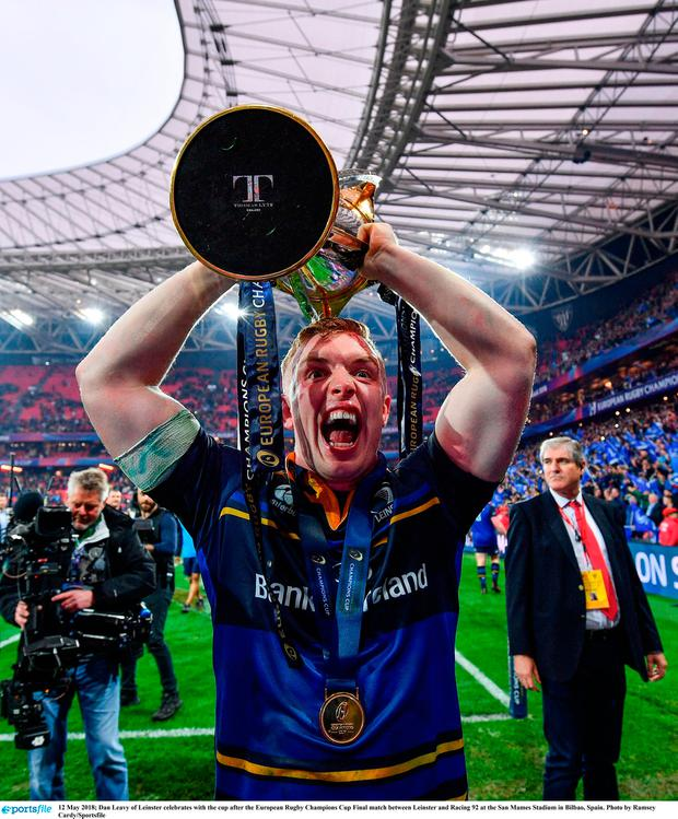12 May 2018; Dan Leavy of Leinster celebrates with the cup after the European Rugby Champions Cup Final match between Leinster and Racing 92 at the San Mames Stadium in Bilbao, Spain. Photo by Ramsey Cardy/Sportsfile