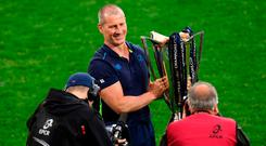 Leinster senior coach Stuart Lancaster poses with the trophy following the European Rugby Champions Cup Final match between Leinster and Racing 92 at San Mames Stadium in Bilbao, Spain. Photo by Stephen McCarthy/Sportsfile