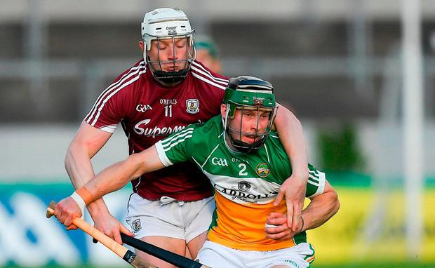 Tom Spain of Offaly in action against Joe Canning of Galway during the Leinster GAA Hurling Senior Championship First Round match between Offaly and Galway at Bord na Mona O'Connor Park in Tullamore, Offaly. Photo by Ray McManus/Sportsfile