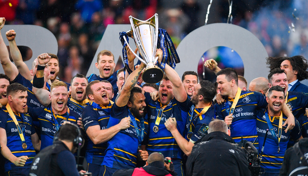 Leinster's players celebrate their Champions Cup success. Photo: Sportsfile