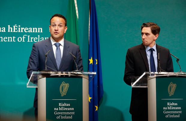 Taoiseach Leo Varadkar and Health Minister Simon Harris during a press conference on the cervical cancer scandal. Photo: Frank McGrath