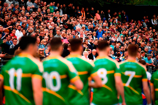 Leitrim parade before the start of the game againbst New York . Photo: Stephen McCarthy/Sportsfile