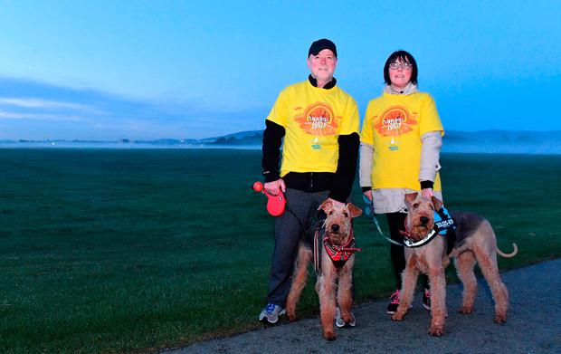Paddy and Geraldine Whelan who walked with their dogs. Photos: Harry Murphy