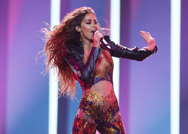 Eleni Foureira from Cyprus performs the song 'Fuego' in Lisbon, Portugal