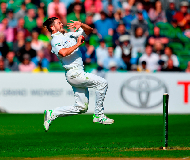 Tyrone Kane bowling against Pakistan at Malahide yesterday. Photo: Seb Daly/Sportsfile