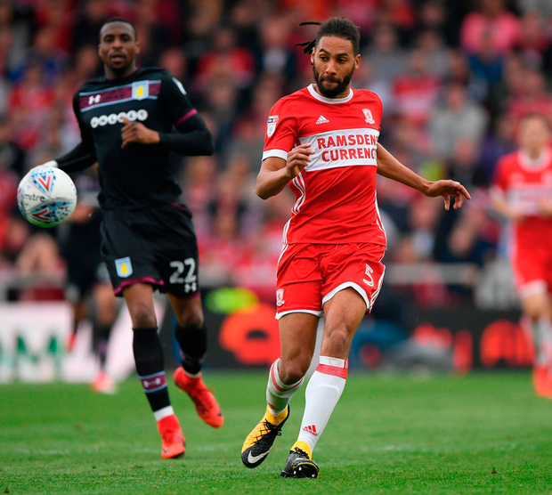 Boro defender Ryan Shotton in action during the match against Aston Villa. Photo: Stu Forster/Getty Images