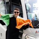 Ireland's Ryan O'Shaughnessy pictured departing his hotel on the way to the Altice Arena in Lisbon for the final of the Eurovision Song Contest 2018. Picture: Andres Poveda