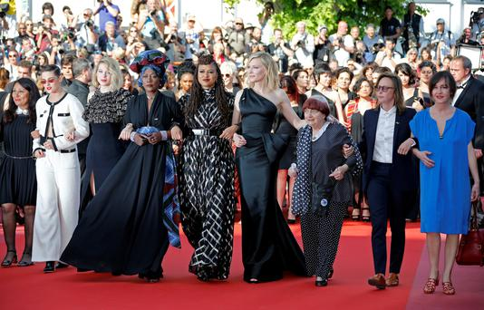 Jury members Kristen Stewart, Lea Seydoux, Khadja Nin and Ava DuVernay, Jury President Cate Blanchett and director Agnes Varda arrive at an event where 82 women from the film industry walk the red carpet to represent the limited number of female filmmakers who have been selected for the festival's competition lineup over its 71 years. Reuters/Jean-Paul Pelissier
