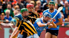 Seán Moran of Dublin in action against Tj Reid of Kilkenny during the Leinster GAA Hurling Senior Championship Round 1 match between Dublin and Kilkenny at Parnell Park in Dublin. Photo by Daire Brennan/Sportsfile