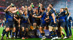 Leinster players get the champagne flowing after Saturday's Champions Cup final in Bilbao. Photo: Sportsfile
