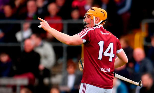 Westmeath's Niall Mitchell celebrates after scoring their third goal. Photo: Sam Barnes/Sportsfile