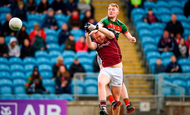 Mayo's Seán Walsh scores his side's goal. Photo: David Fitzgerald/Sportsfile