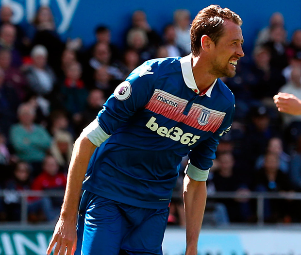 Stoke's Peter Crouch celebrates scoring his side's second goal. Photo: PA