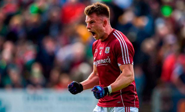 Galway's Eoghan Kerin celebrates at the final whistle after their victory against Mayo in the Connacht SFC quarter-final. Photo: David Fitzgerald/Sportsfile
