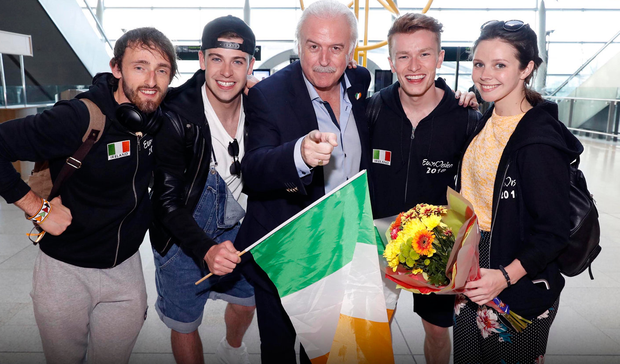 Ireland's Eurovision delegation arrive in Dublin Airport with RTE's Marty Whelan yesterday
