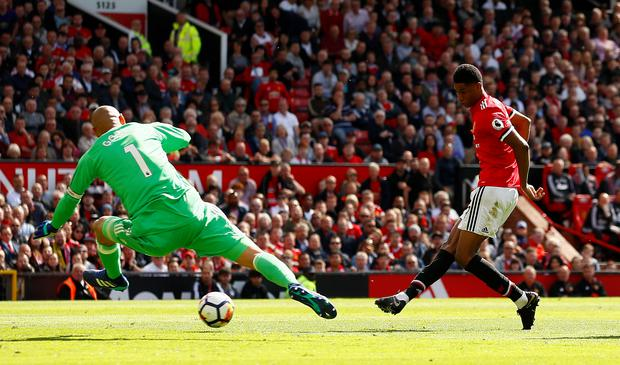 Manchester United's Marcus Rashford scores his side's first goal. Photo: Reuters