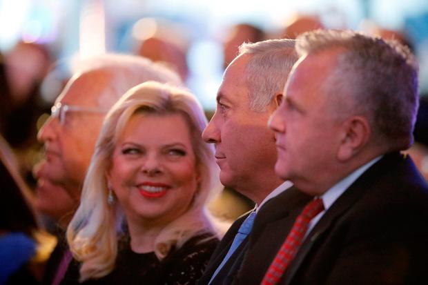 U.S. Deputy Secretary of State John Sullivan, Israeli Prime Minister Benjamin Netanyahu and his wife Sara Netanyahu sit during a reception held at the Israeli Ministry of Foreign Affairs in Jerusalem, ahead of the moving of the U.S. embassy to Jerusalem, May 13, 2018. REUTERS/Amir Cohen