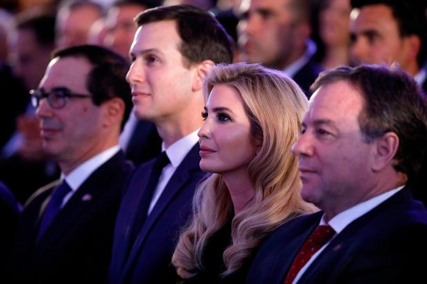 Senior White House Advisers Jared Kushner and Ivanka Trump sit next to U.S. Treasury Secretary Steven Mnuchin during a reception held at the Israeli Ministry of Foreign Affairs in Jerusalem ahead of the moving of the U.S. embassy to Jerusalem, May 13, 2018. REUTERS/Amir Cohen