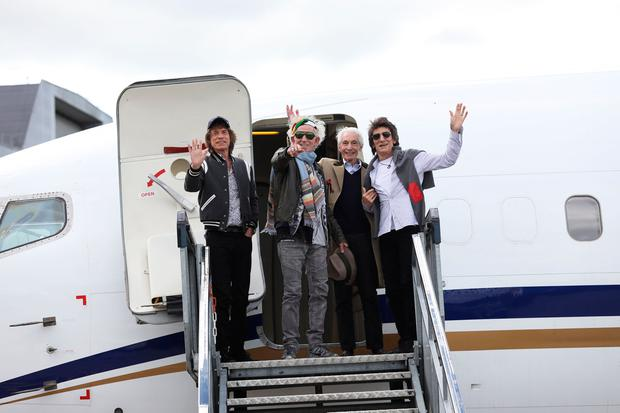 13/5/2018 Mick Jagger, Keith Richards, Charlie Watts, Ronnie Wood from The Rolling Stones pictured as they arrive in Dublin Airport today. They will kick off The Stones - No Filter tour at Croke Park this Thursday May 17. After that they will fly to UK to continue the tour which includes London, Edinburgh & Cardiff.Photo:Leon Farrell/Photocall Ireland.