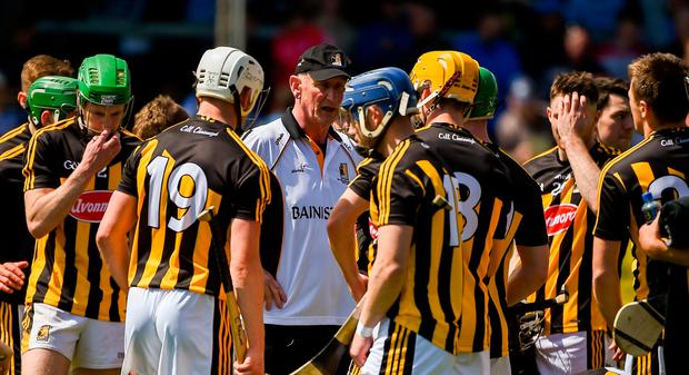 Kilkenny manager Brian Cody speaks to his players ahead of the Leinster GAA Hurling Senior Championship Round 1 match between Dublin and Kilkenny at Parnell Park in Dublin. Photo by Daire Brennan/Sportsfile