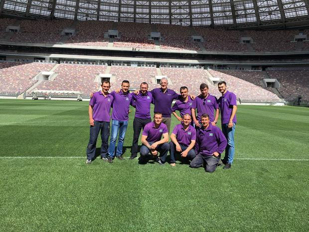 SIS Pitches CEO George Mullan (centre) with some of the team at Luzhniki Stadium