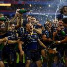 Leinster celebrate after winning the Champions cup final over Racing 92 in Bilbao, Spain Pic:Mark Condren