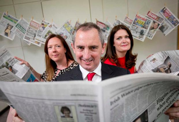 L to R:, Jenny Fisher, Head of Corporate affairs National Lottery, Jerry Kennelly, chairman of the awards judging panel, Ann Marie Lenihan, CEO NewsBrands
