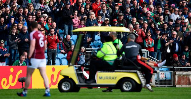 The crowd applaud as Tom Parsons of Mayo is substituted during the Connacht GAA Football Senior Championship Quarter-Final match between Mayo and Galway at Elvery's MacHale Park in Mayo. Photo by David Fitzgerald/Sportsfile