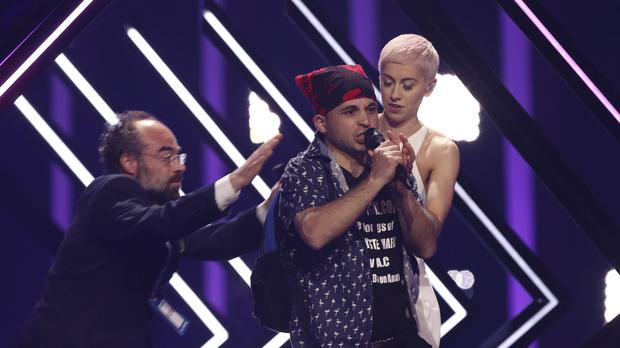SuRie said she has bruises after the Eurovision invasion but is 'OK' (Armando Franca/AP)