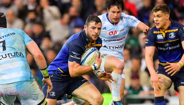 Robbie Henshaw of Leinster on the attack during the European Rugby Champions Cup Final match between Leinster and Racing 92 at the San Mames Stadium in Bilbao, Spain. Photo by Brendan Moran/Sportsfile