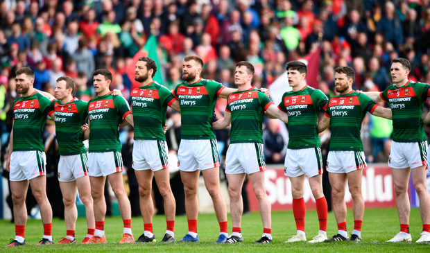 13 May 2018; Mayo players stand for the playing of Amhrán na bhFiann prior to the Connacht GAA Football Senior Championship Quarter-Final match between Mayo and Galway at Elvery's MacHale Park in Mayo. Photo by David Fitzgerald/Sportsfile