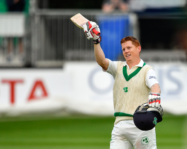 14 May 2018 Kevin O'Brien of Ireland celebrates after scoring a century during day four of the International Cricket Test match between Ireland and Pakistan at Malahide in Co. Dublin