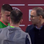 Martin O'Neill comforts Ireland goalkeeper Jimmy Corcoran after his controversial red card.