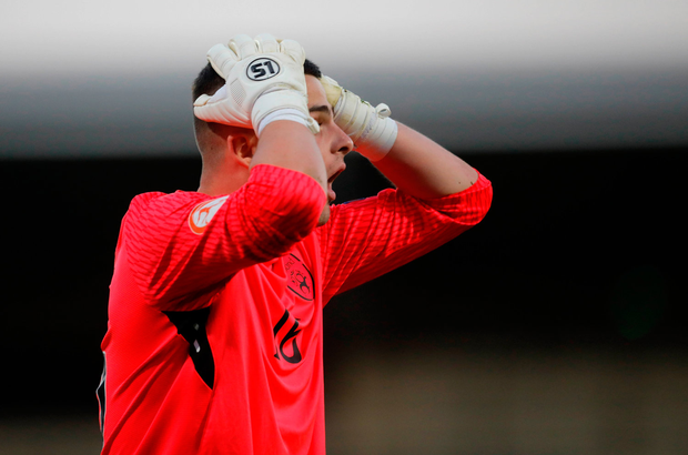 14 May 2018; Goalkeeper Jimmy Corcoran of Republic of Ireland reacts after he was sent off during the penalty shoot out during the UEFA U17 Championship Quarter-Final match between Netherlands and Republic of Ireland at Proact Stadium in Chesterfield, England. Photo by Malcolm Couzens/Sportsfile