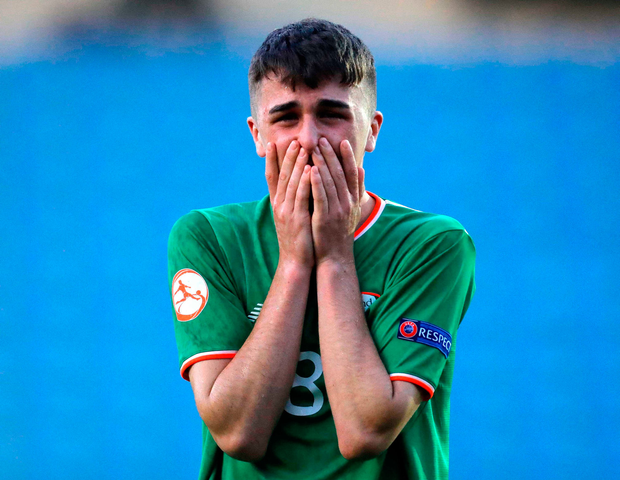 14 May 2018; Barry Coffey of Republic of Ireland reacts following the UEFA U17 Championship Quarter-Final match between Netherlands and Republic of Ireland at Proact Stadium in Chesterfield, England. Photo by Malcolm Couzens/Sportsfile