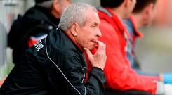 Louth boss Pete McGrath in pensive mood during Sunday's loss to Carlow. Photo: Piaras Ó Mídheach/Sportsfile