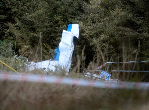 The shattered wreckage of the parachute club plane after it crashed in bogland near Mount Lucas, Co Offaly. Photo: Caroline Quinn