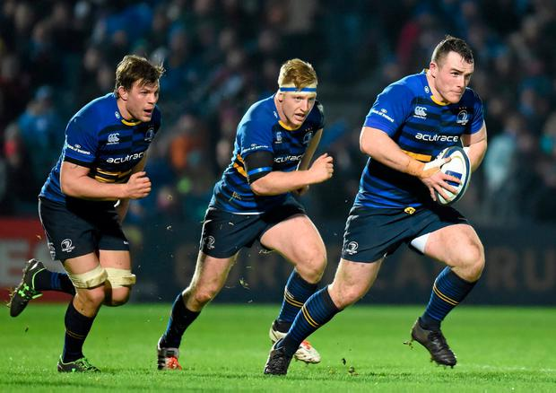 EARLY DAYS: Peter Dooley and James Tracey supported by Jordi Murphy against Bath in 2016. Photo: Stephen McCarthy/SPORTSFILE