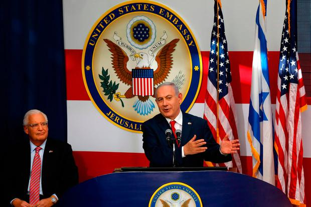 Israel's Prime Minister Benjamin Netanyahu delivers a speech during the opening of the US embassy in Jerusalem. Photo: AFP/Getty Images