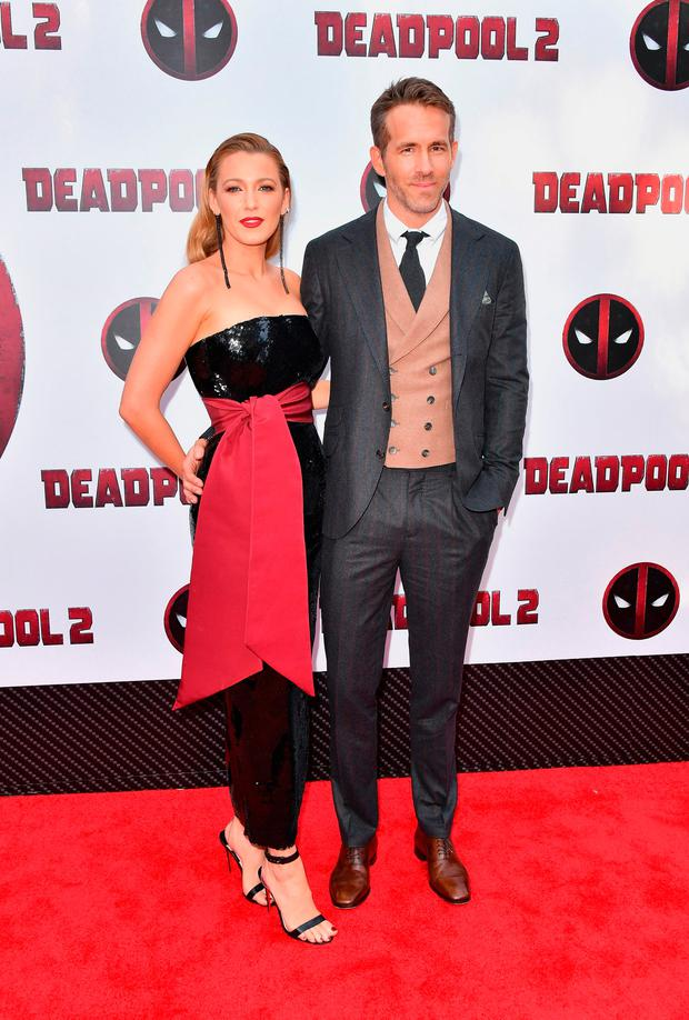Actors Blake Lively (L) and Ryan Reynolds attend the 'Deadpool 2' screening at AMC Loews Lincoln Square on May 14, 2018 in New York City. (Photo by Michael Loccisano/Getty Images)