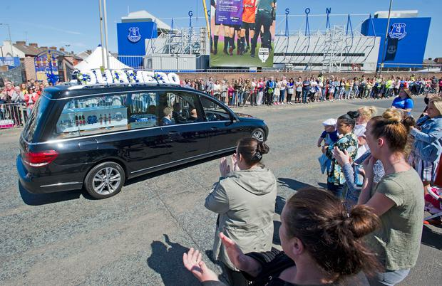 The funeral cortege of Alfie Evans goes past Everton's Goodison Park ground in Liverpool. Photo: Andrew Price/PA Wire