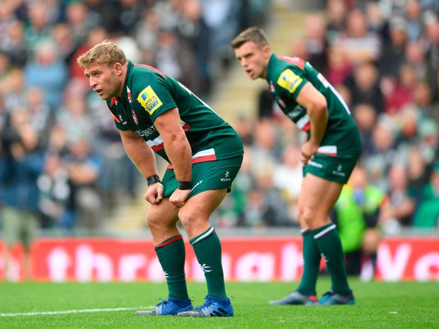 LEICESTER, ENGLAND - SEPTEMBER 03: Tom Youngs and George Ford of Leicester Tigers look on during the Aviva Premiership match between Leicester Tigers and Bath Rugby at Welford Road on September 3, 2017 in Leicester, England. (Photo by Laurence Griffiths/Getty Images)